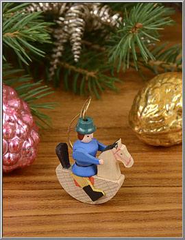 Christmas Shop: Erzgebirge Boy on Rocking Horse Wood Ornament - D ...
