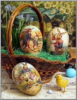 Easter Shop Country Rabbits Paper Mache Candy Boxes Germany