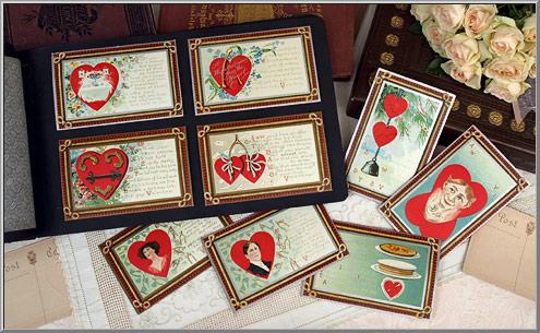 Valentine Shop: Antique Penny Postcard Valentines circa 1910 - D