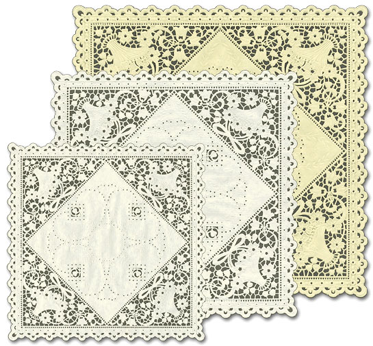 Embossed, Die-Cut Paper Lace Linen Doilies ~ Food Safe ~ Made in the